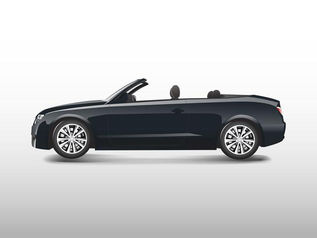 Black convertible car isolated on white vector