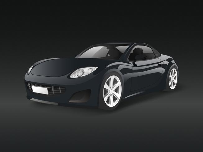 Automobile sportiva nera in un vettore nero della priorità bassa