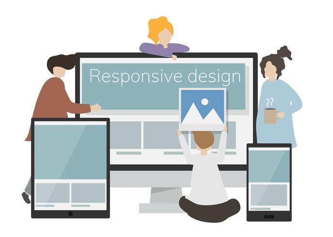 Illustratie van karakter met responsief ontwerp op een scherm