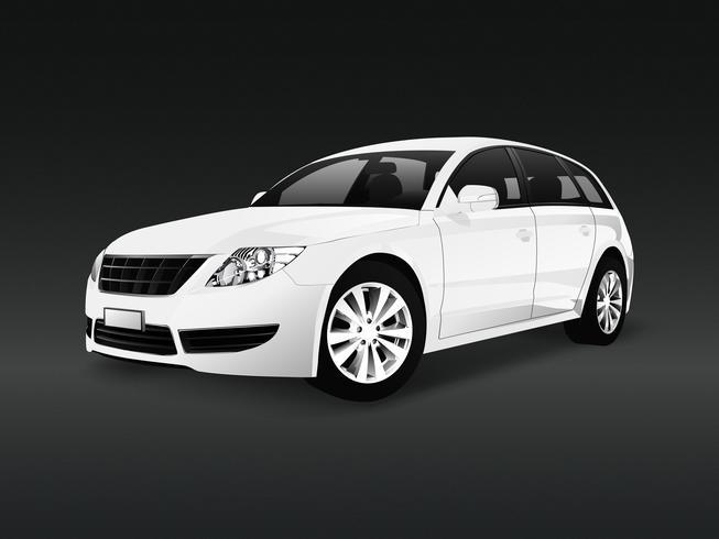 Weißes SUV-Auto in einem schwarzen Hintergrundvektor