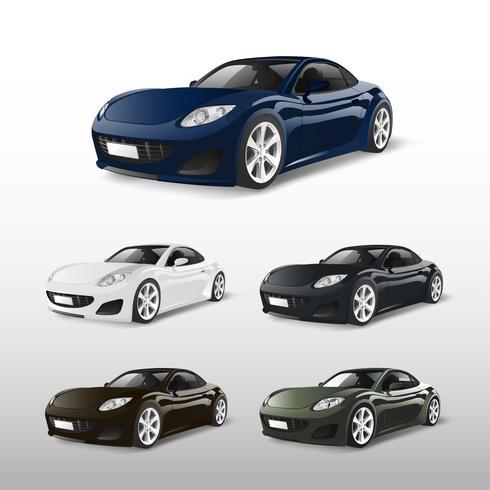 Conjunto de carros esportivos isolado em vetores brancos