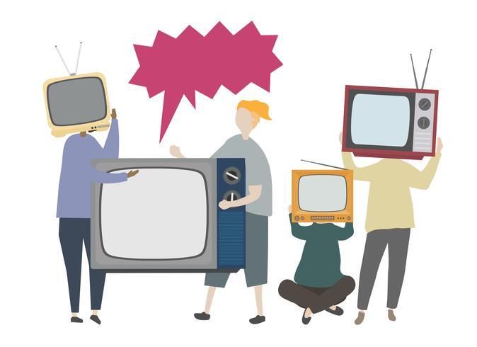 Klassieke retro televisie concept illustratie