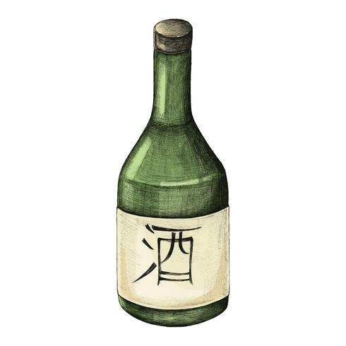 Ilustração, de, japoneses, álcool, garrafa