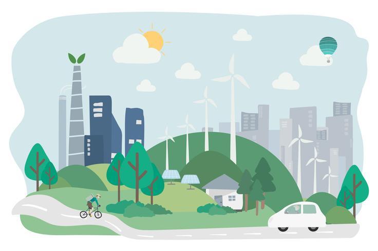 Illustration d'une ville respectueuse de l'environnement