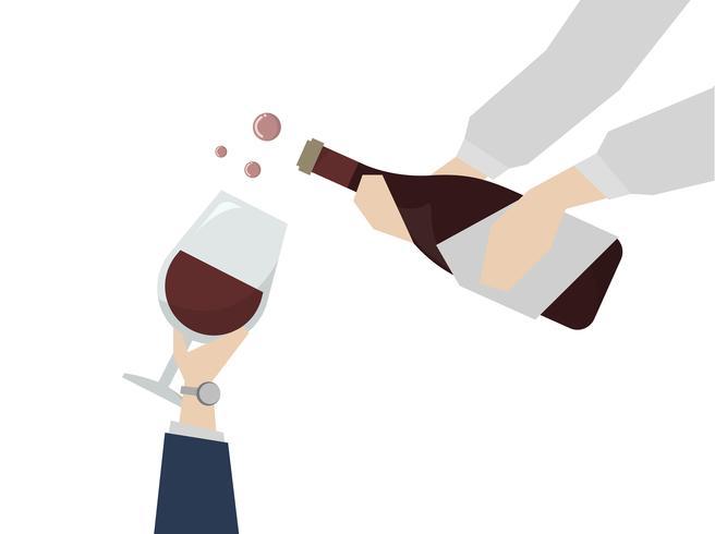 Illustration av vin som serveras