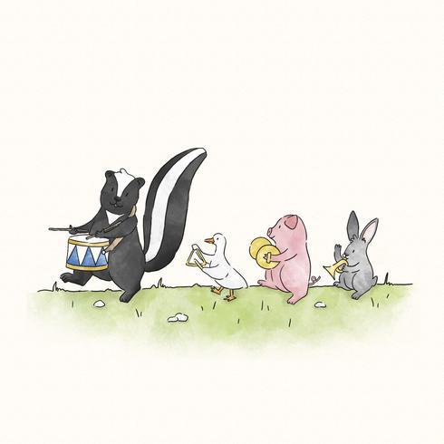 Skunk marchando a su propio tambor.