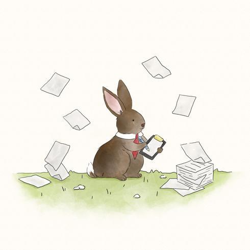 Coelho de coelho ocupado assinar documentos