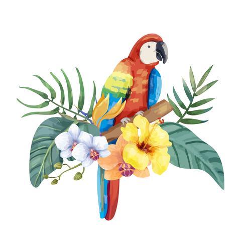 Handdragen papegoja med tropiska blommor