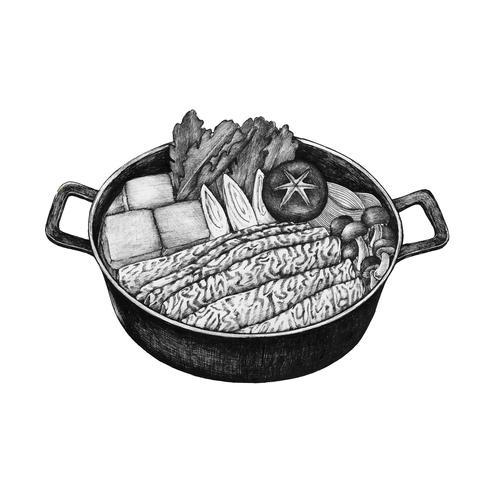 Mão desenhada sukiyaki prato japonês