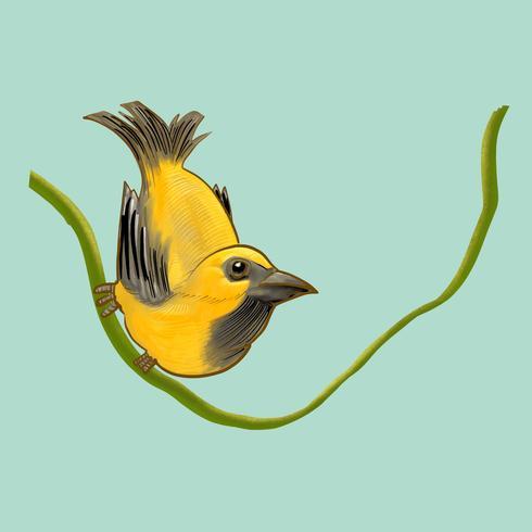 Dessin d'un oiseau jaune