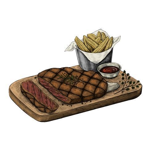 Illustration of a steak dinner