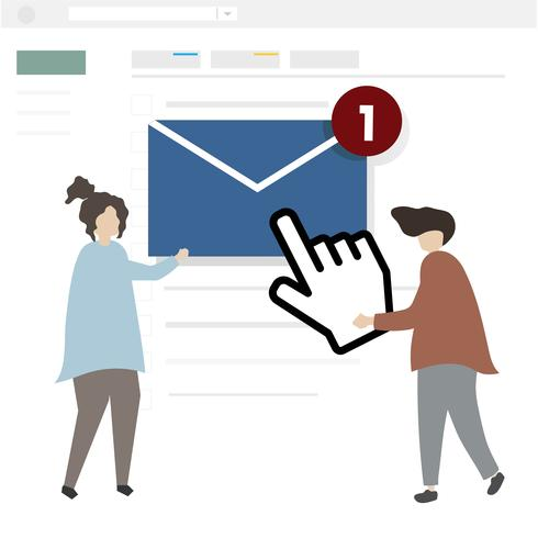 Illustration of characters sending an email