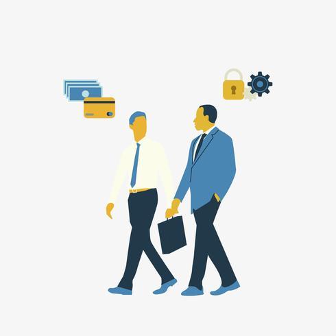 Dargestellte Geschäftsleute, die über Onlinebankingsicherheit sprechen