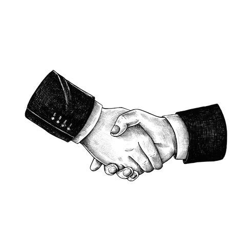 Handritad handskakning isolerad på vit bakgrund
