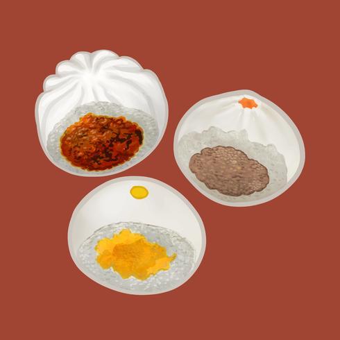 Ilustração de três pães chineses no vapor