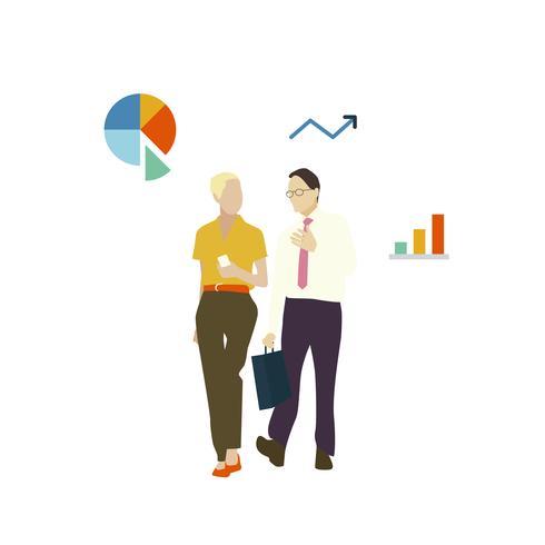 Illustrerad avatar affärsmän som går