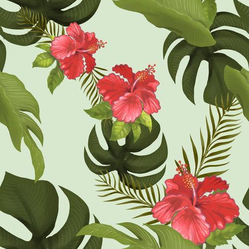 Bosque tropical de drawnd de mano aislado