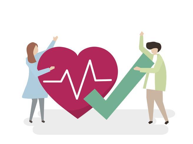 Ilustración de personas con un corazón sano.