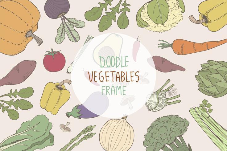 Cadres végétaux doodle colorés