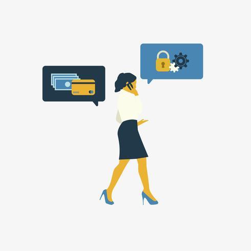 Geïllustreerde bedrijfsvrouw met online bankwezenveiligheid