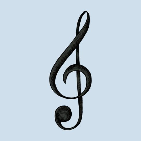 Dibujado a mano g-clef nota musical ilustración