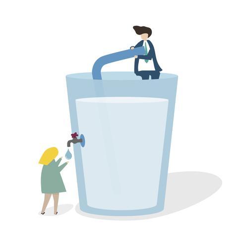 Illustratie van een enorm waterglas
