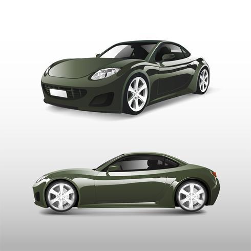Grön sportbil isolerad på vit vektor