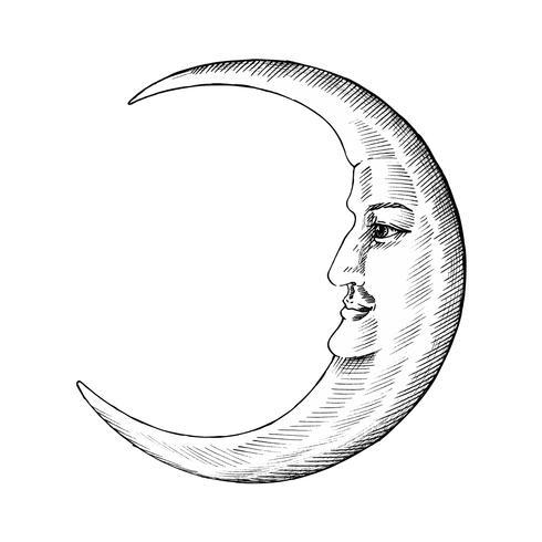 Hand gezeichneter Mond mit Gesicht