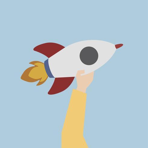 Illustratie van een lanceringsraket