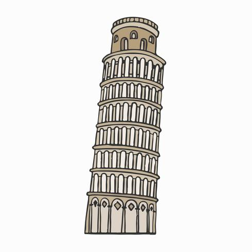 Lutande tornet i Pisa illustration