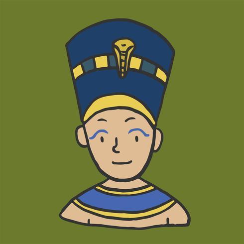 Giovane faraone disegnato a mano, re egiziano