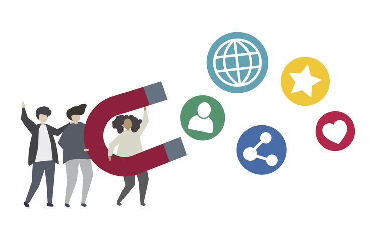Sociaal netwerk marketing concept illustratie