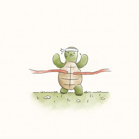 Snelle schildpad die tot de fininshlijn loopt