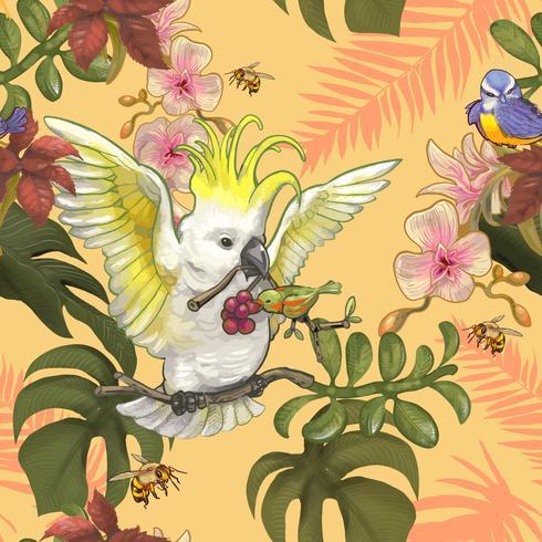 Tropiska växter och färgglada fåglar och bin