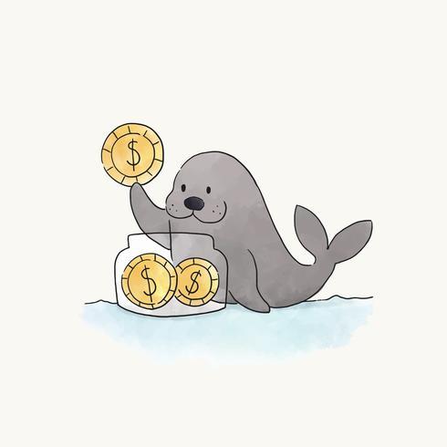 Sigilli le monete di risparmio in un vaso