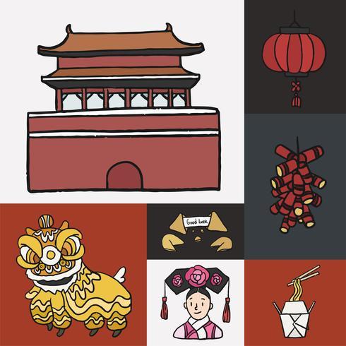 Set chinesische Ikonen und Marksteine