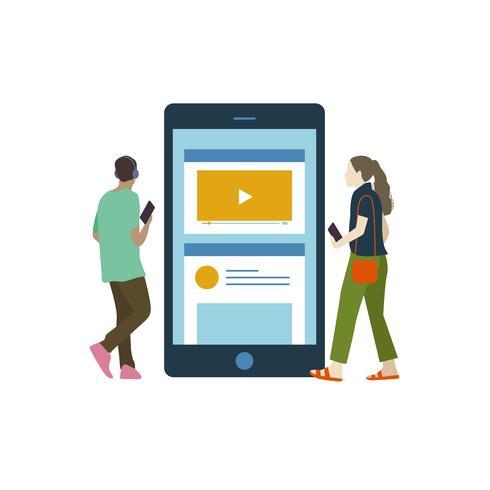 Personas ilustradas escuchando música en línea.