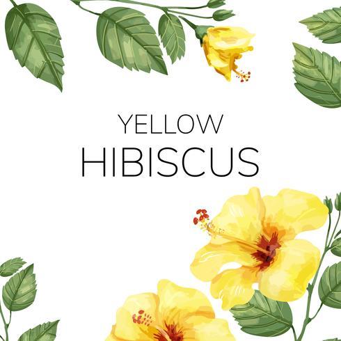 Hand gezeichnete gelbe Hibiscusblume