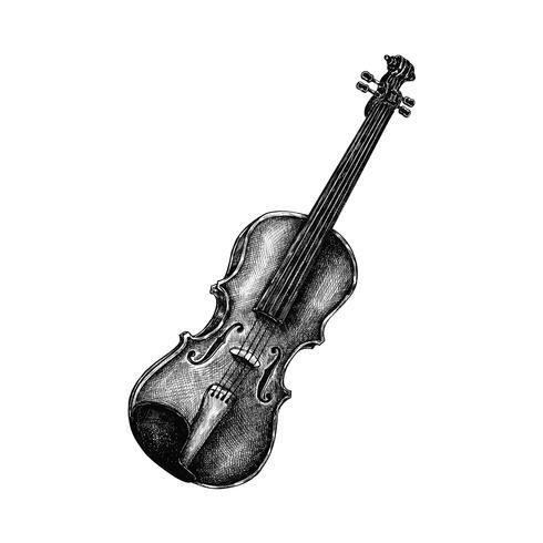 Violino de mão desenhada isolado no fundo branco