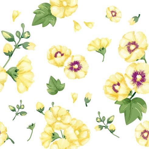 Dibujado a mano patrón de malvas amarillas
