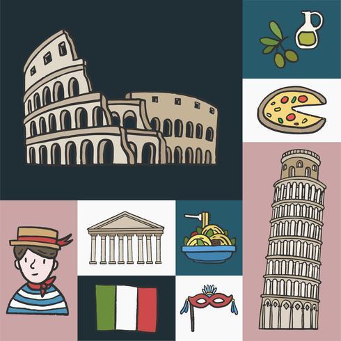 Ensemble de monuments italiens emblématiques