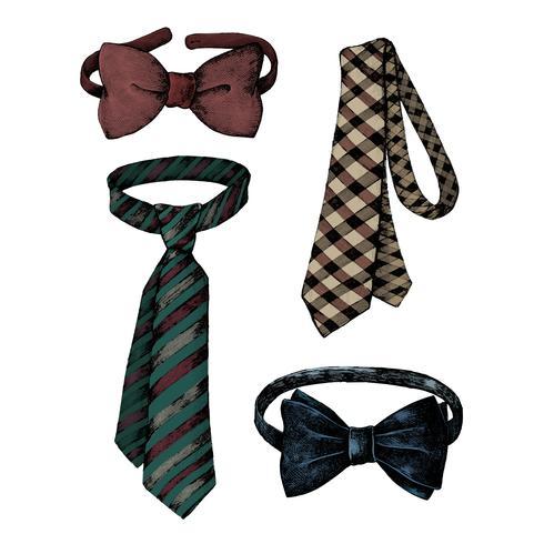 Dibujados a mano corbatas y pajaritas