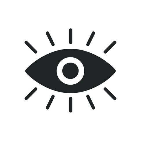 A black eye graphic icon on white background