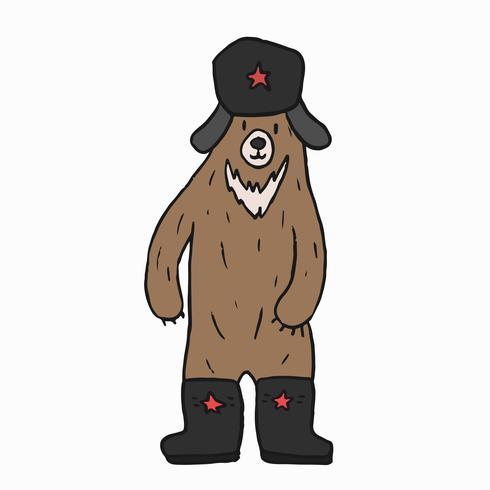 Illustration graphique de dessin animé ours soviétique