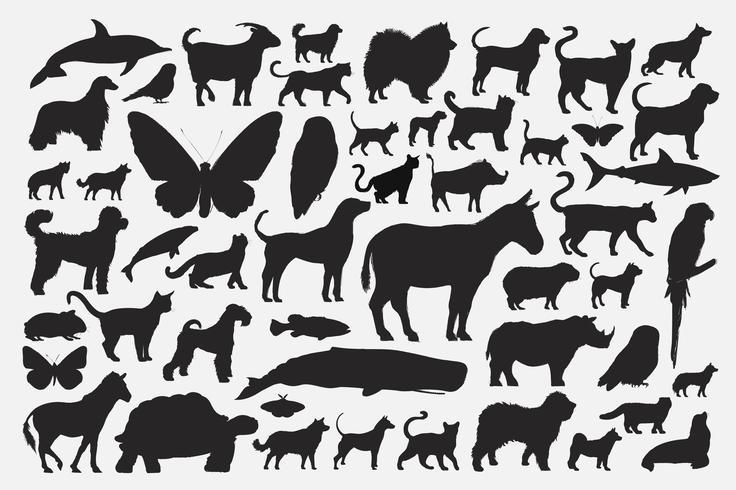 Mixed animal silhouettes set