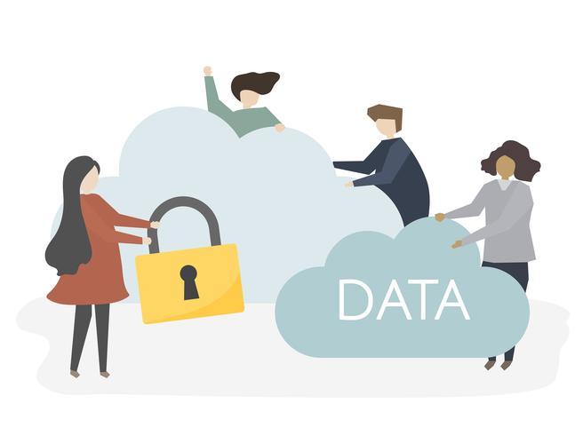Illustration de personnes avec la sécurité du réseau