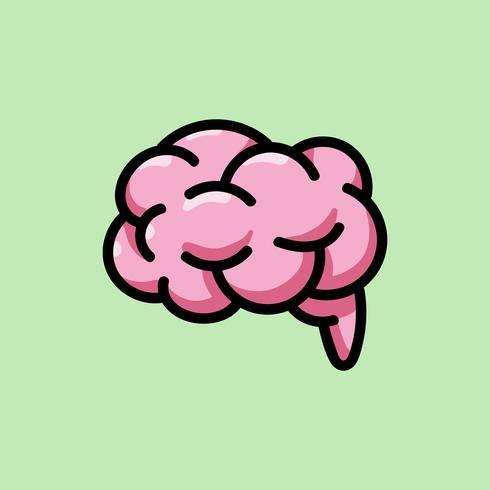 Rosa Ikonenillustration des menschlichen Gehirns