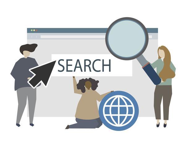 Sistema de búsqueda e ilustración de internet.