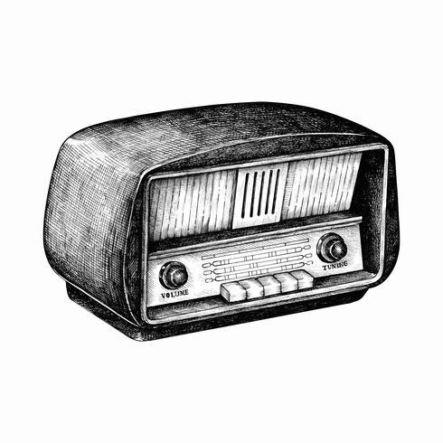 Radio retro dibujado a mano aislado en el fondo