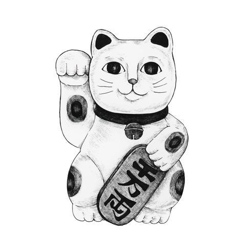 Hand getekende maneki neko beeldje